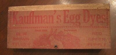 Large Turn of the Century Kauffman's Varigated Marble Egg Dye Wooden Box Gap, PA
