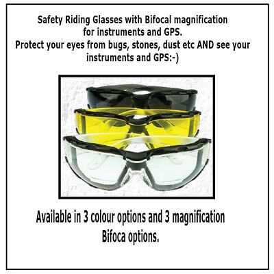 Bi-Focal Motorcycle Riding Glasses - 3 Colour & 3 Magnification Options