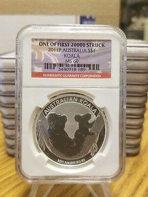2011P AUSTRALIA S$1 KOALA ONE OF FIRST 20000 STRUCK MS 69 NGC .999 fine silver