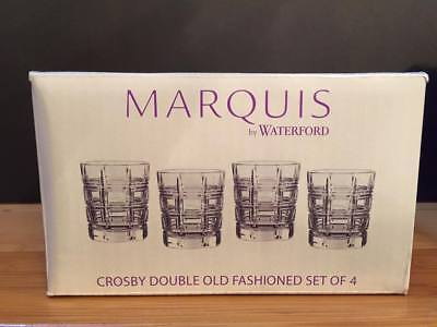 Set of 4 Marquis Waterford Markham Crosby DOF Double Old Fashioned Glasses $100