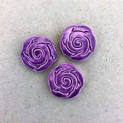 CERAMIC ROSES x3 - 18mm diameter - Purple ~ Mosaic Inserts, Art, Craft Supplies