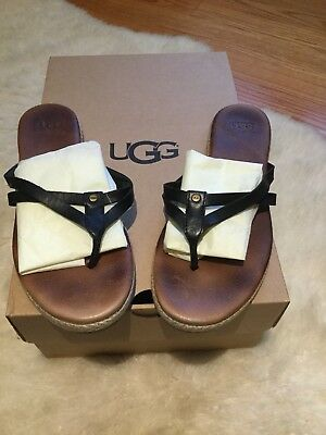 c9804164013 NIB Ugg Annice Black Leather Thong Flip Flop Leather Sandals Women s Size 7