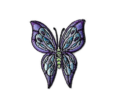 Butterfly - Insect - Purple & Blue - Full View - Embroidered Iron On Patch