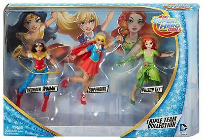 DC Super Hero Girls Triple Team Collection Dolls 3 Pack Wonder Woman, Supergirl