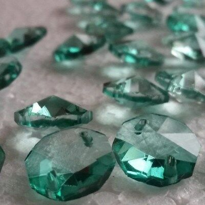 100 Antique Green 14MM 2-Holes Crystal Chandelier Glass Octagon Beads New Color