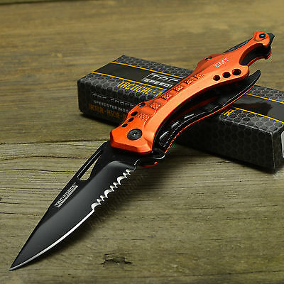 TAC Force Orange EMT Handle Spring Assist Part Serrated Tactical Knife New!