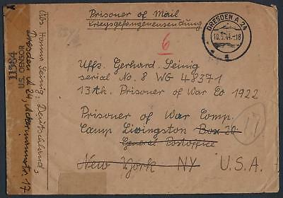 GERMANY US 1944 WWII MILITARY GERMAN NAZI CENSORED COVER ADDRESSED TO THE 13th