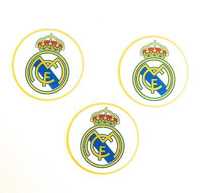 Pre Cut 12 Edible Rice Paper Wafer Card Real Madrid Football Cupcake Toppers