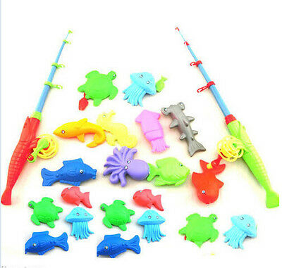 Magnetic Fishing Toy Rod Model Net 10 Fish Kid Children Baby Bath Time Fun Gifts