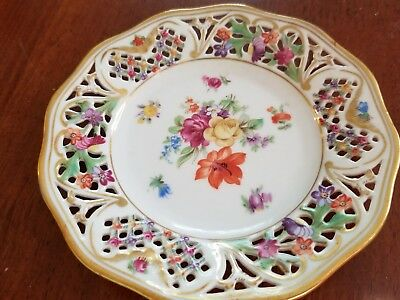 Schuman Bavaria  Pierced Reticulated Floral Garland 5 1/2 in.  Plate Chateau