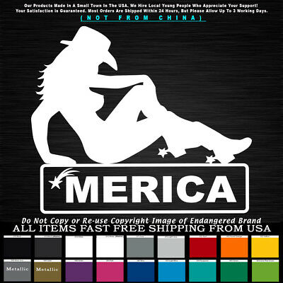 'Merica Cowgirl Left Sexy Striper Decal Sticker