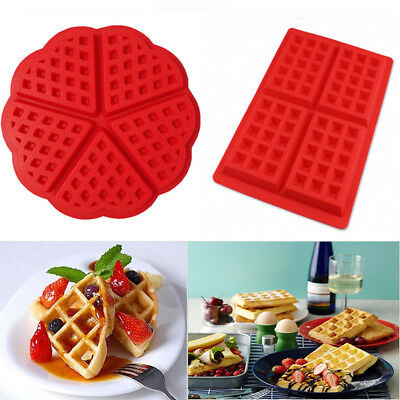 Waffles Cake Chocolate Pan Silicone Mold Microwave Baking Baked DIY Mould Tray