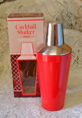 Vintage Retro Kin Hip Red Stainless Steel Cocktail Shaker Mixer Barware Boxed