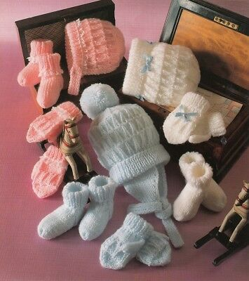 BABY Toddler Knitting Pattern copy Bonnets Hats Mittens 8 Ply