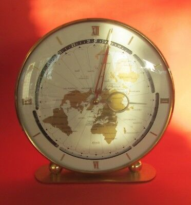 Rare Kundo Kieninger & Obergfell Wind-up World Clock 1950s NICE!