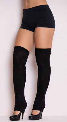 One Size Fits Most Womens Thigh High Leg Warmers, Black Leg Warmers