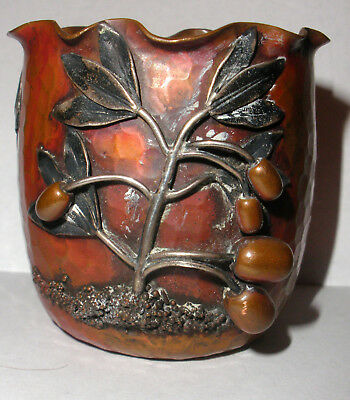 Rare antique Gorham Aesthetic Copper Sterling Silver Mixed Metals Hammered Vase