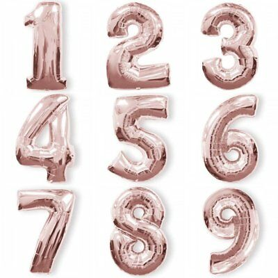 """Rose Gold Foil Balloon Numbers 100cm/40"""" Helium/Air Birthday/Anniversary"""