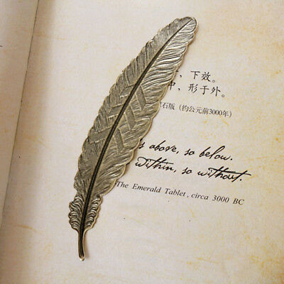 2x Vintage Copper Bookmark Retro Hollow-out Feather For Bookmark Book Magazine
