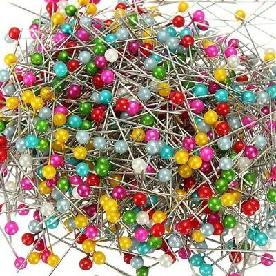 100stk Dressmaking Sewing Pin Straight Pins Round Head Color Pearl-Corsage