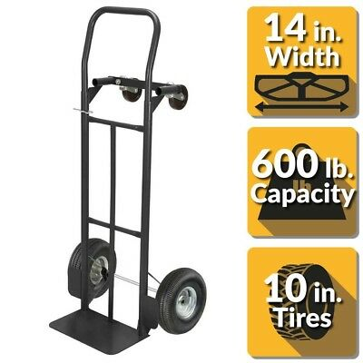 7220ce3baef 2-in-1 Convertible Hand Truck Dolly 600 lbs. Capacity Cart Vertical  Horizontal