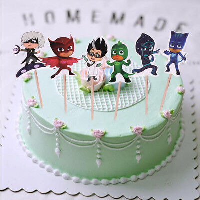24x PJ Mask Cake Picks Topper Decorating Candle Birthday Party Supplies DIY