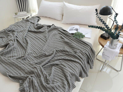 New 100% Cotton Home Bedroom Soft Chunky Knit Throw Blanket Woven Rug Picnic Rug