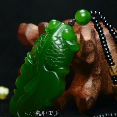 New China Natural Green Jade Pendant Necklace Amulet Lucky Fish Hot