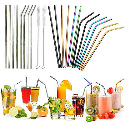 Metal Drinking Straws Stainless Steel Drink Straw Cleaner Party Reusable Bar Lot