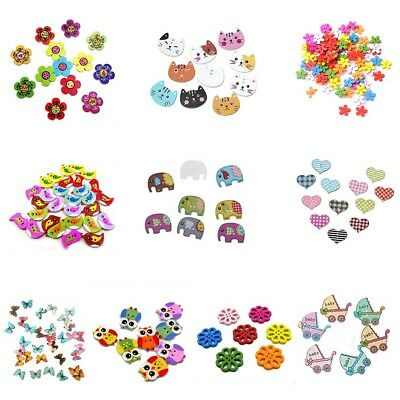 Mixed Animal 2 Holes Wooden Buttons Sewing Craft Scrapbooking DIY Buttons