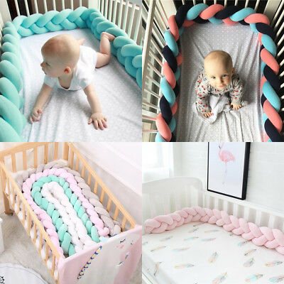 1.5/2/3/4M Baby Bedding Sheet Cushion Knotted Cot Bumpers Design Crib Protection