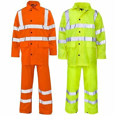 Rainsuit Hi Viz Waterproof Jacket & Over Trouser Set Mens / Ladies Workwear