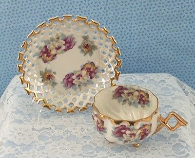 NAPCO 3 FOOTED CUP with GOLD HANDLE and SAUCER SCALLOP EDGING  PANSIES
