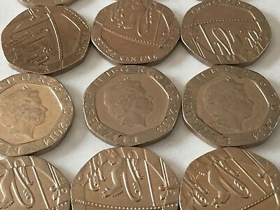 20p coins, twenty pence, various dates, good condition. circulated.