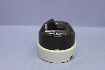 Vintage Leviton Brown Bakelite/White Porcelain 3-Way Round Toggle Switch -TESTED