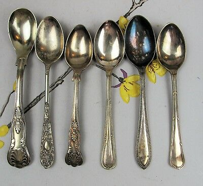Cutlery Job Lot: 6 mixed vintage silver plated COFFEE / ESPRESSO SPOONS.
