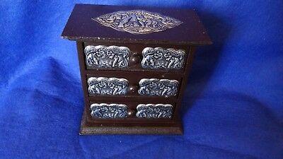 Miniature Chest Of Drawers With Elephant Plated Silver Colour Plaques.