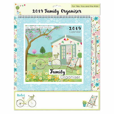 2019 Family Organiser Calendar with Note Board and Pen - Garden Shed