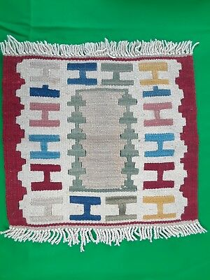 Vintage Hand Woven Dollhouse Rug Beautiful Design, Tight Weave Very Nice