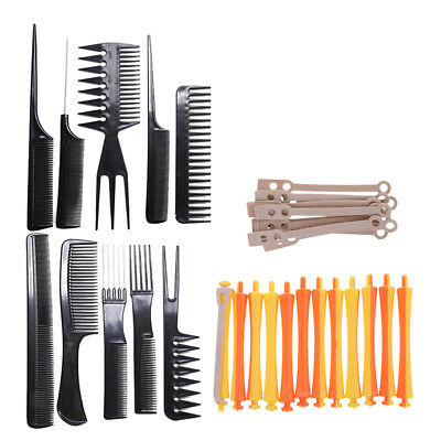 Pro Barber Hair Cut Styling Design Comb Kit with 12pcs Hair Curling Wavy Rod