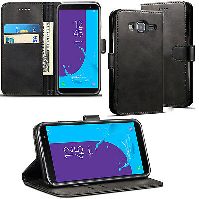 Samsung Galaxy J3 2016 Premium Leather Black Wallet case cover Stand View