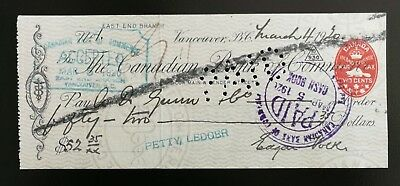 1920 Canadian Bank of Commerce Cheque with 2c Embossed Revenue Stamp (FCH1)