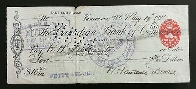 1921 Canadian Bank of Commerce Cheque with 2c Embossed Revenue Stamp (FCH1)