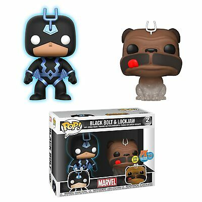 Funko Pop Marvel SDCC 2018 Teleporting Lockjaw & Black Bolt Vinyl Figure Two-Pac