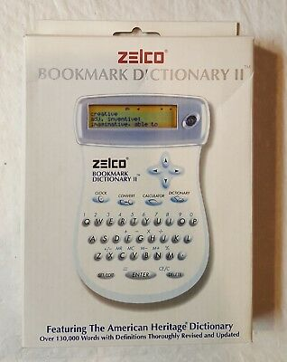 New Zelco Electronic Bookmark Dictionary II Calculator Clock Unit Conversions