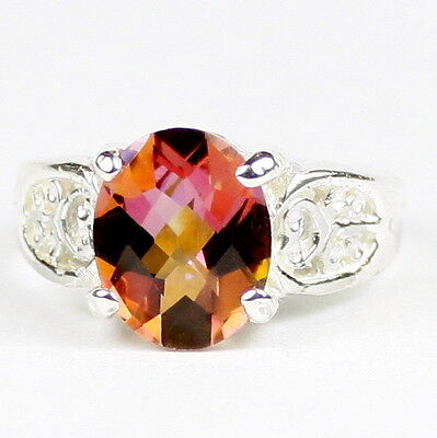 • SR369, 3.3 carat Twilight Fire Topaz, Sterling Silver Ladies Ring - Handmade