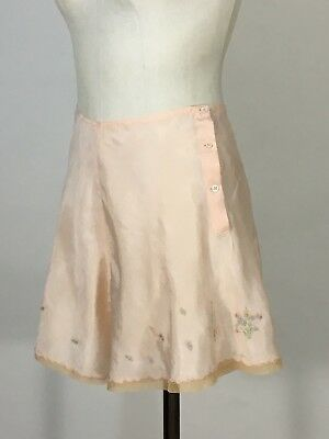 Vintage 1920's-1930's peach rayon HAND EMBROIDERED floral tap panties underwear