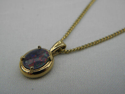 """LOVELY SILVER GILT OPAL NECKLACE PENDANT WITH 18"""" FINE CHAIN ~ Signed SN SIL"""