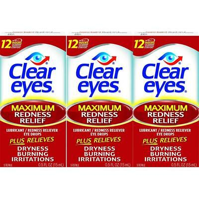 3 PACK  Of Clear Eyes Maximum Redness Relief Eye Drops Drying, Burning  0.5 oz
