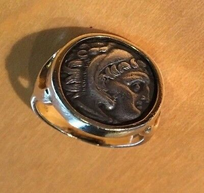 7GM 14K SOLID GOLD RING ANCIENT RARE Alexander The Great Greek+silver coin SZ *9